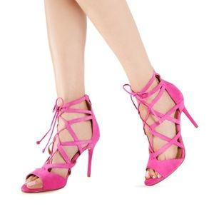JustFab Pink 'Emmey' Lace Up Heels
